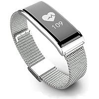 Fitness Tracker Orologio Smartwatch Android iOS Cardiofrequenzimetro da Polso Bracciale in metallo bracciale da polso intelligente Watch tecnologia Bluetooth