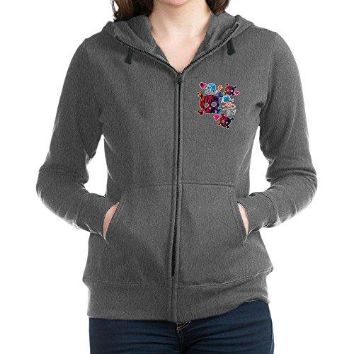 Royal Lion Women's Zip Hoodie (Dark) Punk Girl Skulls Peace Symbol - Charcoal Heather, 2X