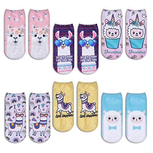 Zmart Unicorn Cat Llama Sloth Socks for Girls Funny Zoo Animal 3D Print Ankle Socks