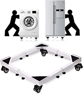 washing machine base mini fridge stand, adjustable furniture dolly moving cart, universal mobile roller stand with 4 Locking Wheels, for washer and dryer stand, laundry pedestal and refrigerator stand