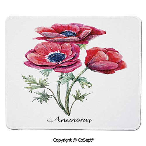Ergonomic Mouse pad,Watercolor Painting Style Bouquet of Anemone Vintage Garden,for Computer,Laptop,Home,Office & Travel(15.74