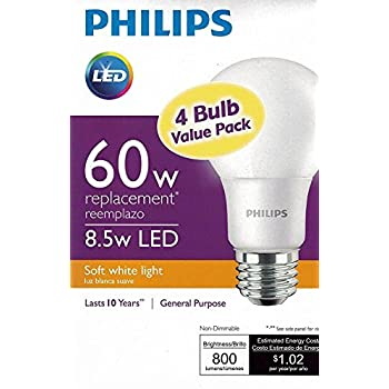Philips 461145 40W Equivalent Soft White A19 Non-Dimmable ...