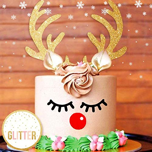 Set of 3 JeVenis Glittery Deer Antler Cake Decoration Reindeer Antlers Cake Topper Deer Cake Decoration for Christmas Kid Birthday Wedding Baby Shower ()