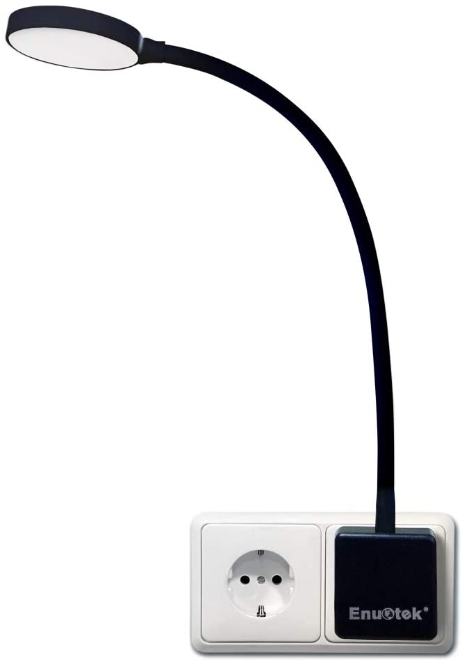 Lampara de Noche Luz Nocturna de Pared LED Regulable Flexible con Enchufe y Interruptor Tactil 4W Brillo Máximo 350Lm Luz Fria 5000K Lot de 1 de Enuotek