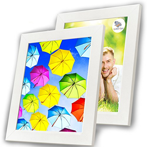 8x10 Picture Frame White (2 Pack) - Wood Photo Frames with Glass Cover - Made to Display 8 by 10 Inch Photos w/o Mat or 5x7 and 3x5 with Mats - Hanging or Standing - Vertical or Horizontal …