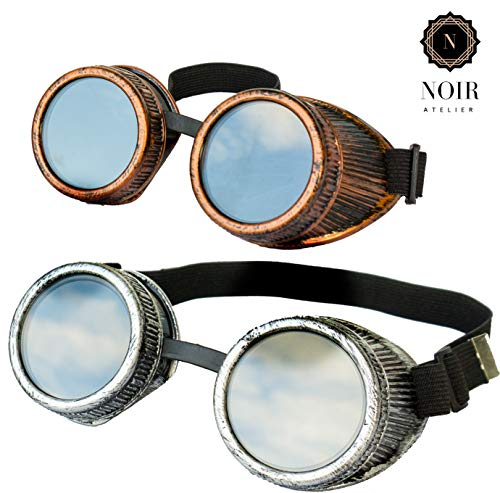 Designed in USA New Real Metal Feel and Look Handcrafted 2pcs Steampunk Victorian Retro Vintage Welding Halloween Goggles Cyber Punk Gothic Glasses  Perfect For Costumes and Cosplay ()