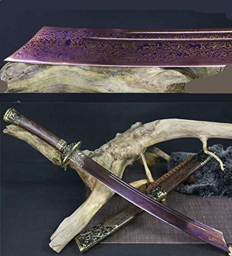 Jiang Tong Full Tang Damascus Folded Steel Blue Blade Chinese Dragon Tiger DAO Sword