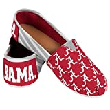 NCAA Womens College Ladies Canvas Slip-On Summer Shoes - Pick Team (Stripes - Alabama Crimson Tide, Medium)