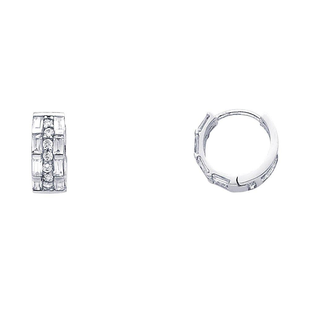 Solid 14k White Gold CZ Huggie Hoop Earrings Huggies Baguette Three Row Style Polished Fancy 13 mm