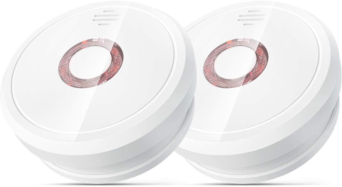 2-Pack Isafenest Alarma de Humo con Sensor Fotoel/éctrico Independiente Voz de 85 dB Detector de Humo con 5 A/ños de Duraci/ón de Bater/ía
