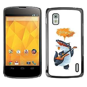 Shell-Star Arte & diseño plástico duro Fundas Cover Cubre Hard Case Cover para LG Google NEXUS 4 / Mako / E960 ( Crocodile Cartoon Character Guitar Singing )
