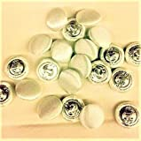36Pcs Bridal Buttons, Off White Polyester Satin, 1/2''/Metal Shank,