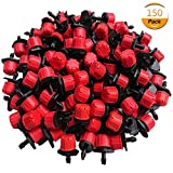 AiMiiNiii 150pcs Plastic Adjustable Emitter Dripper Micro Drip Irrigation Sprinklers Watering System Flower Beds, Vegetable Gardens, Lawn, Herbs Gardens