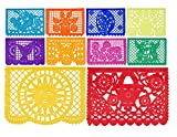Large Tissue Papel Picado Banner Party Pack - Each Banner 16 Feet Long with Designs as Pictured by Paper Full of Wishes - 10 Pack (Multi - Lucas)