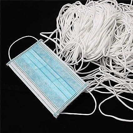 10 M 3 mm Blanc FUYU 10 M 3 mm DIY Bouche Masque Bande /Élastique Masque Corde en Caoutchouc Bande Cha/îne Masque Oreille Cordon Ronde Bande /Élastique V/êtements Artisanat Accessoires