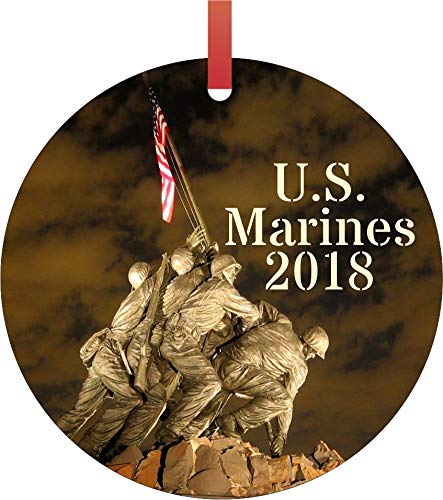 Rosie Parker Inc. U.S. Marines 2018 Double Sided Flat Round Shaped Ornament Xmas Tree Christmas Décor - Christmas Room Décor and Ornament Yard Decorations