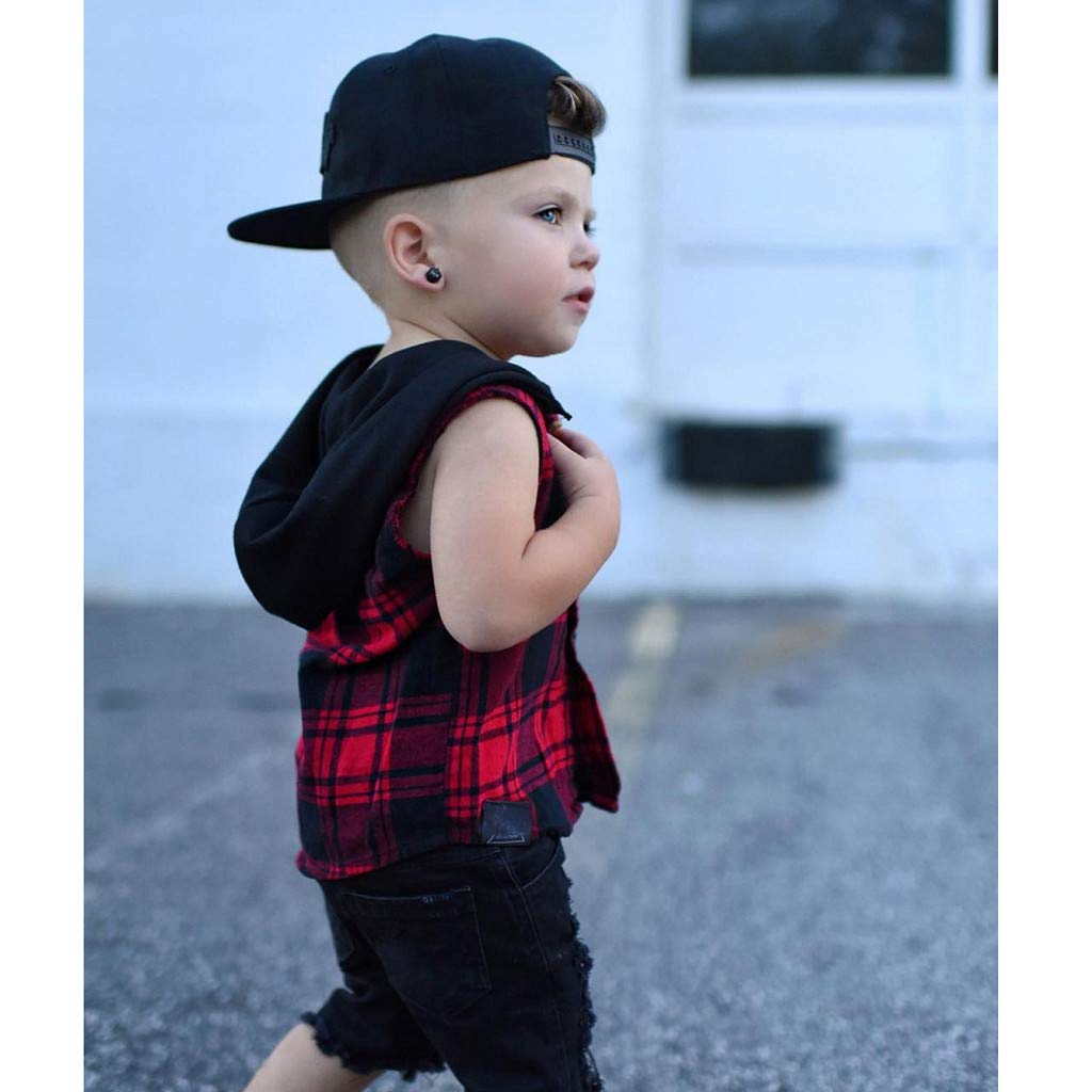 Tomppy Toddler Baby Boy Sleeveless Hoodie Plaid Button-Down Hooded Shirt Vest Tops Kids Casual Tracksuit Clothes