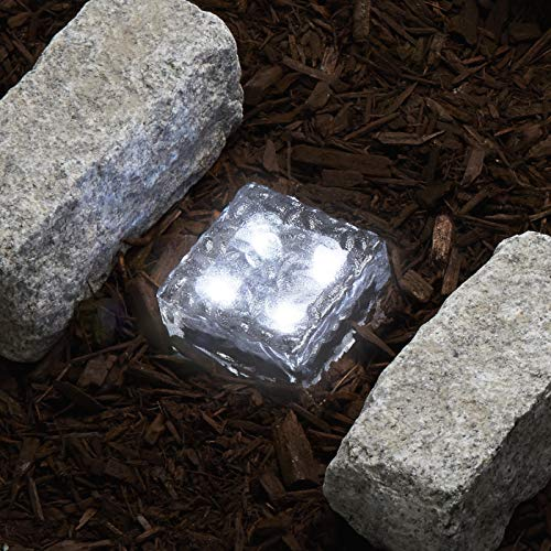 Glass Solar Brick with LED Lights - Path & Garden Landscape Accent Lighting, 4x4 Inch Square, Cool White, Waterproof, Outdoor - Rechargeable Batteries ()