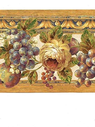 Seabrook Classics Wallpaper Border Tuscan Grapes & Roses ...