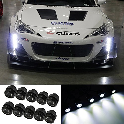 iJDMTOY 30W High Power 10-LED LEDayFlex Style Flexible Free Style LED Daytime Running Light Kit, Xenon White Color ()