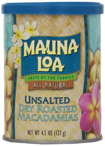 Mauna Loa Macadamias, Unsalted Dry Roasted, 4.5-Ounce Containers (Pack of 6)