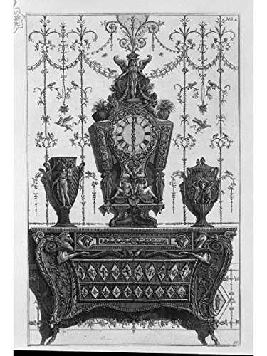 Chest of Drawers with Patterns of Diamonds, on a Clock and Two Decorative vases by Giovanni Battista Piranesi