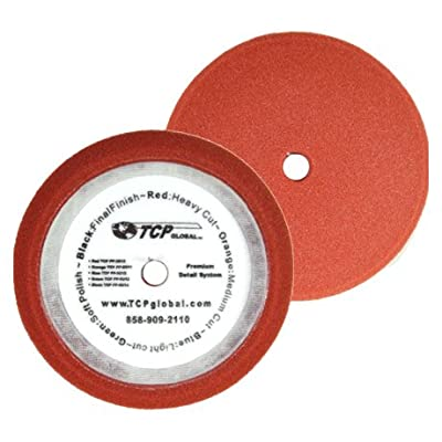 """TCP Global 8"""" Red Foam Buffing Pad Extra Coarse Cutting Buffing Hook & Loop Grip Polish Car: Home Improvement"""