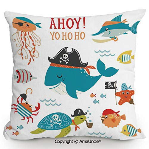 (Summer AmaUncle Cushion Cover Printed Pillow Ahoy Pirate Whale Turtle Pipe Hook Crab Octopus Captain Starfish Swordfish Nautical Underwater Print,W20xL20 Inches,Decorations Indoor/Outdoor Throw Cushio)