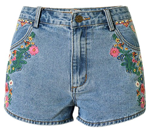 Shorts 2 Ladies Pants Big Loose Light Beautisun lastique Rtro Denim Hot Shorts Denim Casual Blue Shorts Haute Bohemian Irrguliers Taille Bleu OAAxqRFB