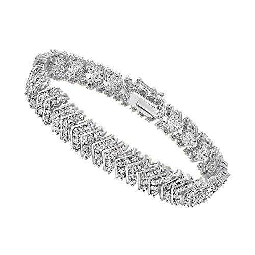 omega jewellery 14K White Gold Plated Sterling Silver Round Diamond Chevron Tennis Bracelets For Women (1 Ct) (Omega White Bracelet)
