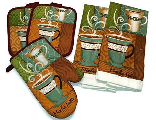 Pot Holder Cafe (Coffee Moca Latte Linen 5 Piece Bundle Package Oven Mitt (1) Pot Holders (2) Kitchen Towels (2) (#4425) )