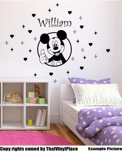Mickey mouse with your chosen name and set of 19 stars and 10 hearts 60 cm x 50 cm Choose colour 18 colours in stock Childs Disney, Any Name, Personalised Name, Bedroom, Children Room Stickers, Car vinyl, Windows and Wall Sticker, Wall Windows Art, Decals, Ornament Vinyl Sticker ThatVinylPlace