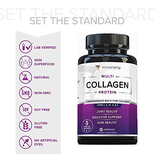 51QwVfCQdwL - Multi Collagen Pills with Hyaluronic Acid & Vitamin C: 5 Type Hydrolyzed Collagen Protein Peptides, Types I II III V X, 30 Servings, 90 Capsules