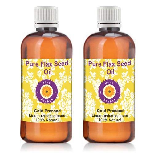 Deve Herbes Pure Flax Seed Oil (Linum usitatissimum) 100% Natural Therapeutic Grade Cold Pressed 100ml (Pack of Two) (6.76 oz) by Deve Herbes