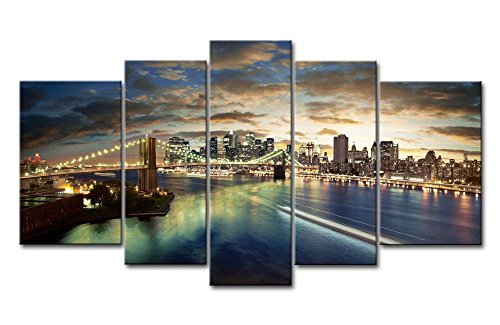 nting City Buildings Bridges Clouds Sea Night Lights Landscape Pictures Prints On Canvas City The Picture Decor Oil For Home Modern Decoration Print ()