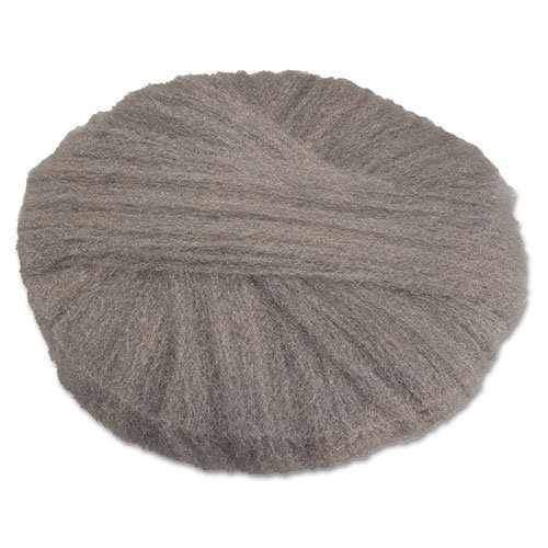 GMT120191 - Radial Steel Wool Pads, Grade 1 med: Cleaning amp; Dry Scrubbing, 19 In Dia, Gray