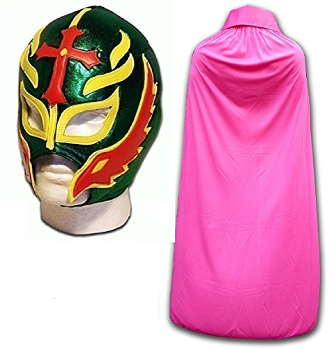 WRESTLING MASKS UK Men's Son Of The Devil Fancy Dress Luchador Mask With Cape One Size Green/Pink by Wrestling