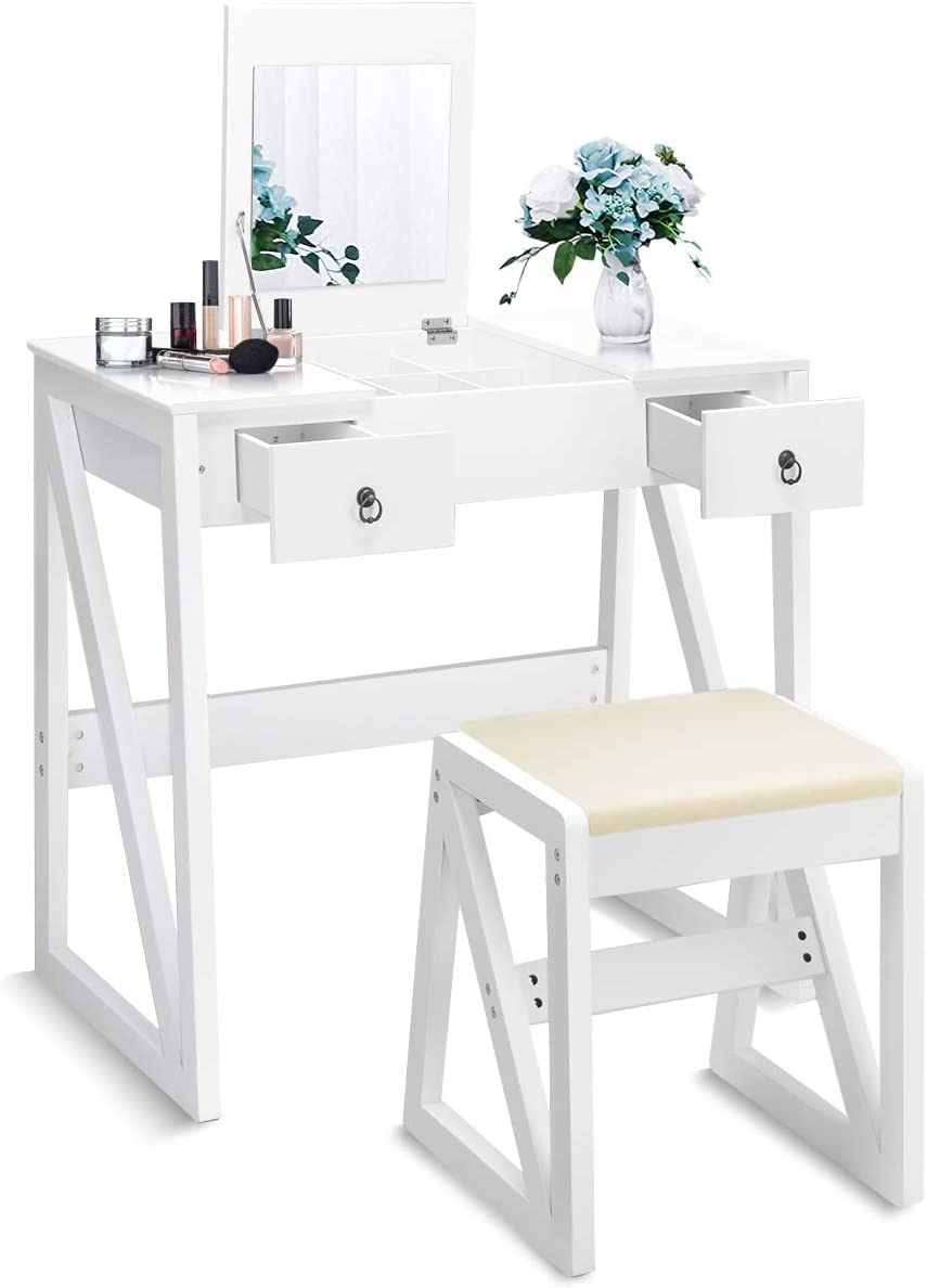 Nightcore Vanity Flip Top Mirror, Solid Wood Dressing Table Writing Desk with with Cushioning Makeup Stool Set, White