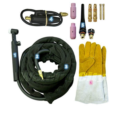 WeldingCity TIG Welding Torch WP-17FV-25R (Flexible/Gas-Valve Head) Complete Ready-to-Go Package for Miller Welder Air-Cool 25-foot Cable 150Amp w/Gift by WeldingCity