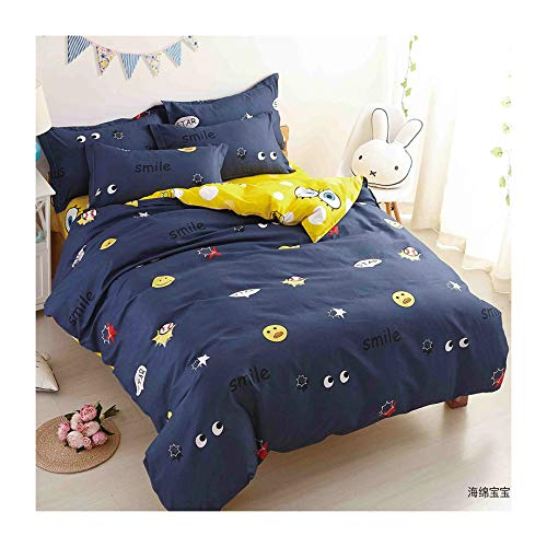 KFZ Girls Kids Large Star Bed Set Twin Full Queen Size, 1 Duvet Cover (Without Comforter Insert) and 2 Pillow Cases (Large Star, Blue, Twin 60