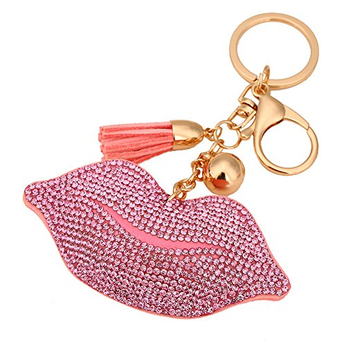 Necklace Key Chain Zipper Pull - PINK LIPS MARY KAY LIPSTICK PENDANT W/ TASSEL ZIPPER PULL KEYCHAIN NECKLACE PURSE