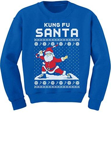Tstars TeeStars - Kung Fu Santa Ugly Christmas Sweater Funny Youth Kids Sweatshirt X-Large Blue