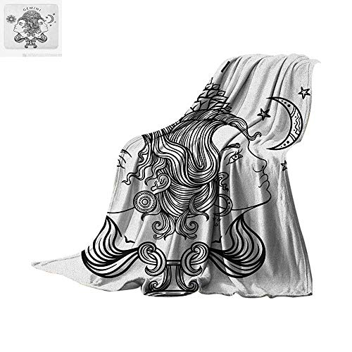 """Zodiac Gemini Custom Design Cozy Flannel Blanket Romantic Mystical Horoscopes Day and Night with Happy and Sad Faces Digital Printing Blanket 90""""x70"""" Black and White"""