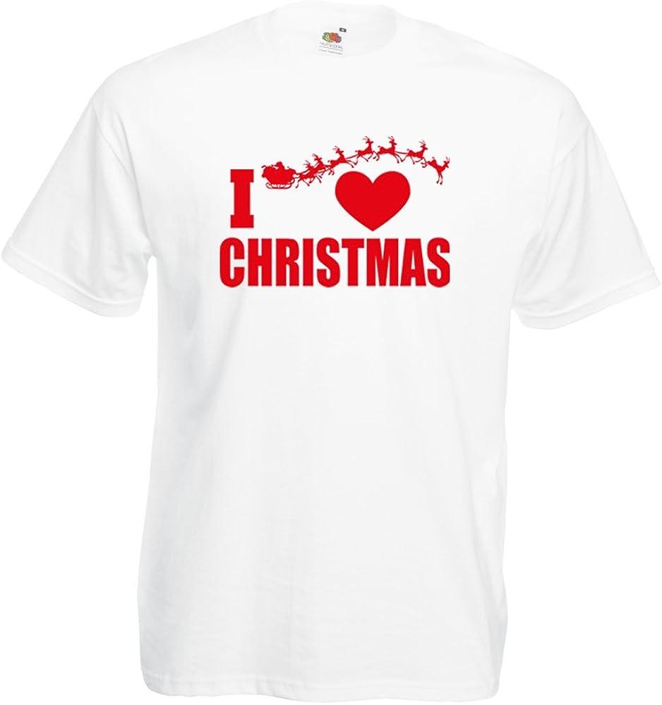 Camisetas Hombre Me Encanta la Navidad - Trajes de Navidad, Papá Noel y los Renos (Small Blanco Multicolor): Amazon.es: Ropa y accesorios