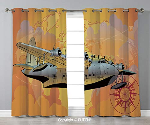 Grommet Blackout Window Curtains Drapes [ Vintage Airplane Decor,Retro Seaplane in Sky World Map Compass Adventure Travel Journey Decorative,Multicolor ] for Living Room Bedroom Dorm Room Classroom Ki]()