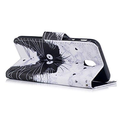 Funda para Samsung Galaxy J5 2017, RosyHeart Galaxy J5 2017 Carcasa Flip Libro de Cuero con Tapa,Alta Calidad Leather PU Bolso con TPU Silicona Cover Interna Suave [Ranura para Tarjeta] Cierre Magnéti Gatos blancos y negros
