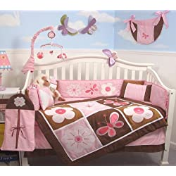SoHo Pink and Brown Floral Garden Baby Girl Crib Nursery Bedding Set 13 pcs included Diaper Bag with Changing Pad & Bottle Case