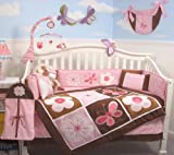SoHo Pink and Brown Floral Garden Baby Crib Nursery Bedding Set including Diaper Bag PLUS FREE BABY PINK CARRIER( for limited time offer only while supplies last!)