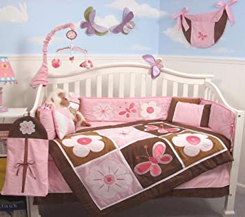 SoHo Pink And Brown Floral Garden Baby Crib Nursery Bedding Set Including  Diaper Bag PLUS FREE