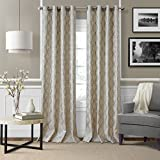 Elrene Home Fashions Modern Metal Print Linen Single Panel Window Curtain Drape, 50''x84'', Pewter